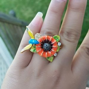 Anthropologie Jewelry - Hummingbird Enamel Rainbow Flower Rhinestone Ring